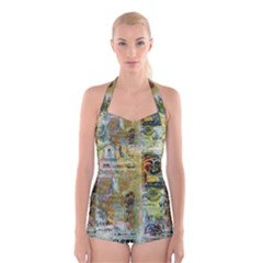 Old Newspaper And Gold Acryl Painting Collage Boyleg Halter Swimsuit