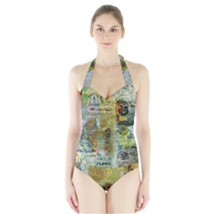 Old Newspaper And Gold Acryl Painting Collage Halter Swimsuit