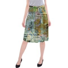 Old Newspaper And Gold Acryl Painting Collage Midi Beach Skirt