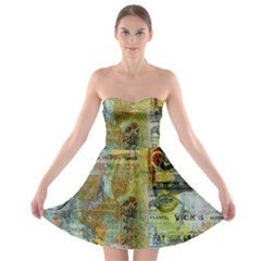 Old Newspaper And Gold Acryl Painting Collage Strapless Bra Top Dress