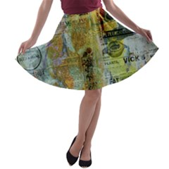 Old Newspaper And Gold Acryl Painting Collage A-line Skater Skirt