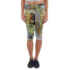 Old Newspaper And Gold Acryl Painting Collage Capri Yoga Leggings
