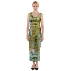 Old Newspaper And Gold Acryl Painting Collage Fitted Maxi Dress