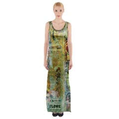 Old Newspaper And Gold Acryl Painting Collage Maxi Thigh Split Dress