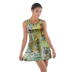 Old Newspaper And Gold Acryl Painting Collage Cotton Racerback Dress
