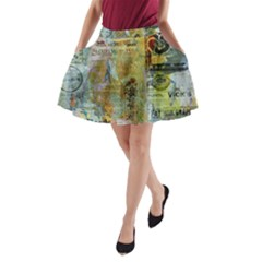 Old Newspaper And Gold Acryl Painting Collage A-Line Pocket Skirt