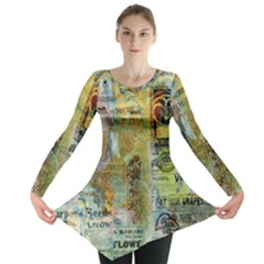 Old Newspaper And Gold Acryl Painting Collage Long Sleeve Tunic