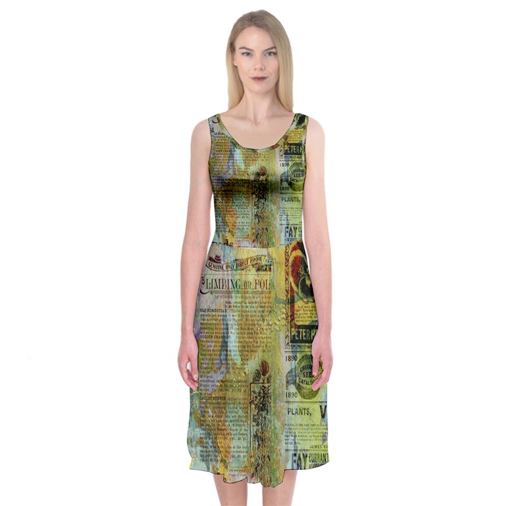 Old Newspaper And Gold Acryl Painting Collage Midi Sleeveless Dress