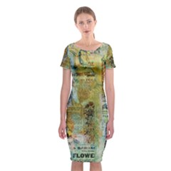 Old Newspaper And Gold Acryl Painting Collage Classic Short Sleeve Midi Dress