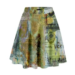 Old Newspaper And Gold Acryl Painting Collage High Waist Skirt