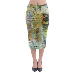 Old Newspaper And Gold Acryl Painting Collage Midi Pencil Skirt