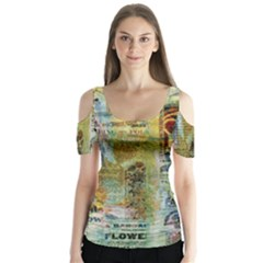 Old Newspaper And Gold Acryl Painting Collage Butterfly Sleeve Cutout Tee