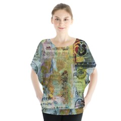 Old Newspaper And Gold Acryl Painting Collage Blouse