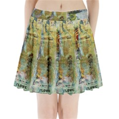 Old Newspaper And Gold Acryl Painting Collage Pleated Mini Skirt
