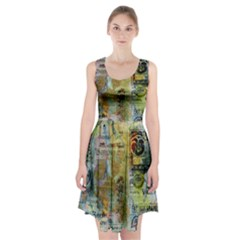 Old Newspaper And Gold Acryl Painting Collage Racerback Midi Dress