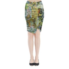 Old Newspaper And Gold Acryl Painting Collage Midi Wrap Pencil Skirt