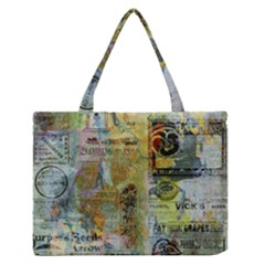 Old Newspaper And Gold Acryl Painting Collage Medium Zipper Tote Bag