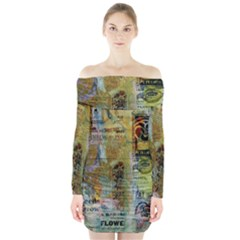Old Newspaper And Gold Acryl Painting Collage Long Sleeve Off Shoulder Dress