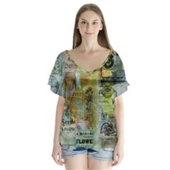 Old Newspaper And Gold Acryl Painting Collage Flutter Sleeve Top