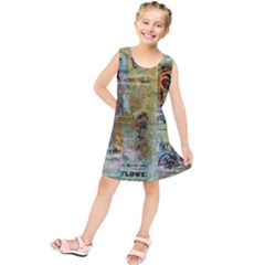 Old Newspaper And Gold Acryl Painting Collage Kids  Tunic Dress
