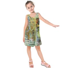 Old Newspaper And Gold Acryl Painting Collage Kids  Sleeveless Dress