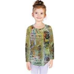 Old Newspaper And Gold Acryl Painting Collage Kids  Long Sleeve Tee