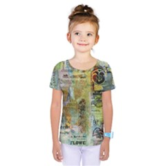 Old Newspaper And Gold Acryl Painting Collage Kids  One Piece Tee