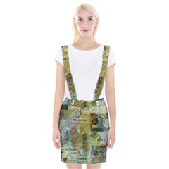 Old Newspaper And Gold Acryl Painting Collage Suspender Skirt