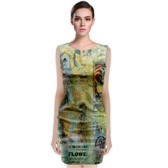 Old Newspaper And Gold Acryl Painting Collage Sleeveless Velvet Midi Dress