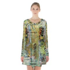 Old Newspaper And Gold Acryl Painting Collage Long Sleeve Velvet V Neck Dress