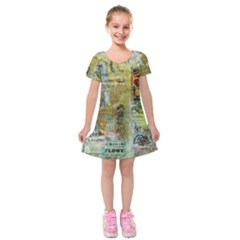 Old Newspaper And Gold Acryl Painting Collage Kids  Short Sleeve Velvet Dress
