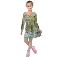 Old Newspaper And Gold Acryl Painting Collage Kids  Long Sleeve Velvet Dress