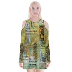 Old Newspaper And Gold Acryl Painting Collage Velvet Long Sleeve Shoulder Cutout Dress