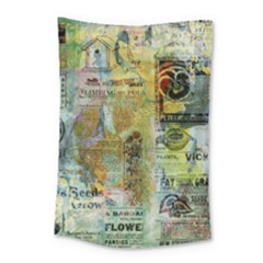 Old Newspaper And Gold Acryl Painting Collage Small Tapestry