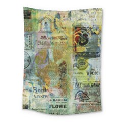 Old Newspaper And Gold Acryl Painting Collage Medium Tapestry