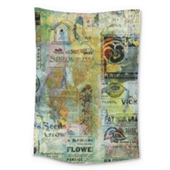 Old Newspaper And Gold Acryl Painting Collage Large Tapestry
