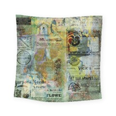 Old Newspaper And Gold Acryl Painting Collage Square Tapestry (small)
