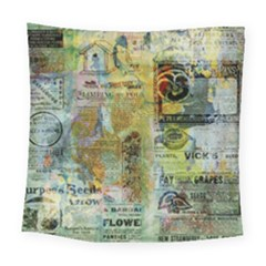 Old Newspaper And Gold Acryl Painting Collage Square Tapestry (large)
