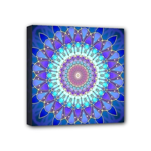 Power Flower Mandala   Blue Cyan Violet Mini Canvas 4  x 4
