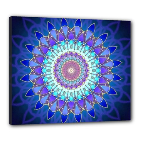 Power Flower Mandala   Blue Cyan Violet Canvas 24  x 20