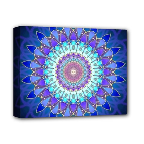 Power Flower Mandala   Blue Cyan Violet Deluxe Canvas 14  x 11