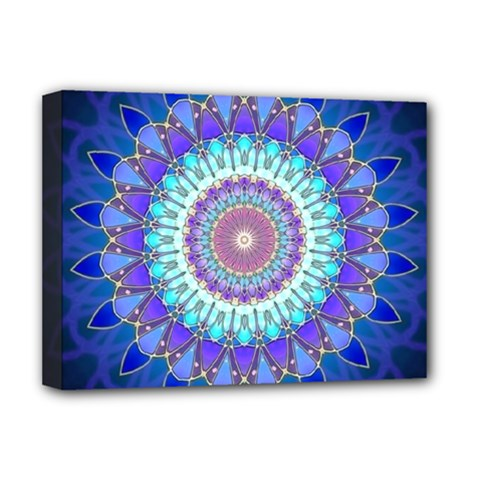 Power Flower Mandala   Blue Cyan Violet Deluxe Canvas 16  x 12