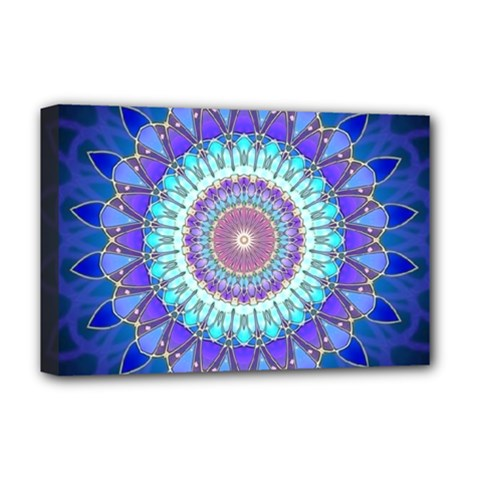 Power Flower Mandala   Blue Cyan Violet Deluxe Canvas 18  x 12