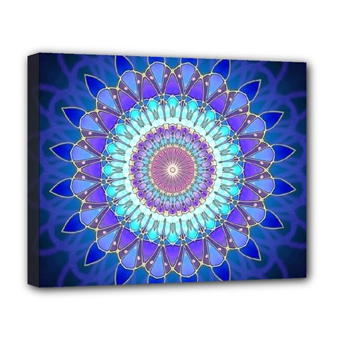 Power Flower Mandala   Blue Cyan Violet Deluxe Canvas 20  x 16