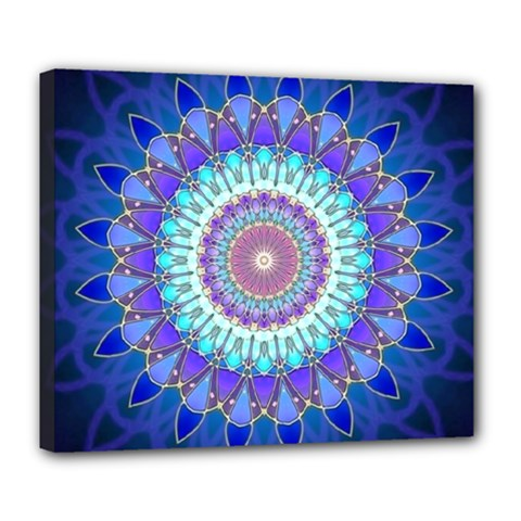 Power Flower Mandala   Blue Cyan Violet Deluxe Canvas 24  x 20