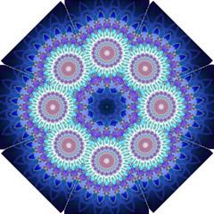 Power Flower Mandala   Blue Cyan Violet Golf Umbrellas