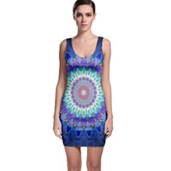 Power Flower Mandala   Blue Cyan Violet Sleeveless Bodycon Dress