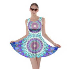 Power Flower Mandala   Blue Cyan Violet Skater Dress