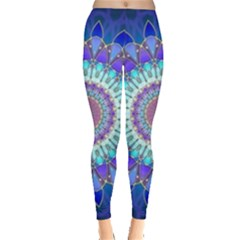 Power Flower Mandala   Blue Cyan Violet Leggings
