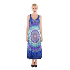 Power Flower Mandala   Blue Cyan Violet Sleeveless Maxi Dress
